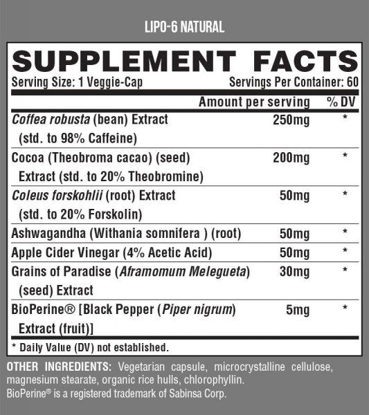 NUTREX LIPO6 NATURAL CAPS