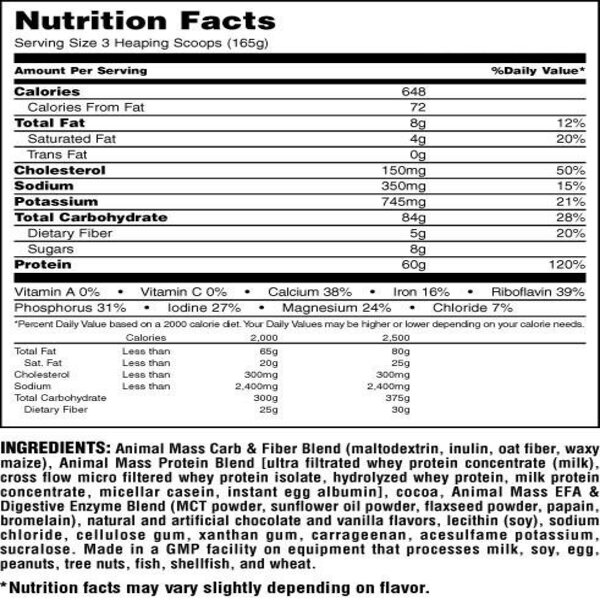 Mass Nutrition Panel - UNIVERSAL NUTRITION LEAN MASS