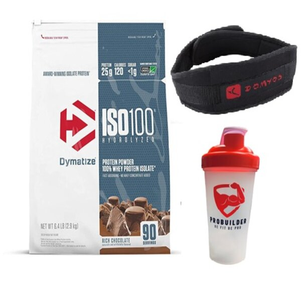 cORRECT DYMATIE DEAL - DYMATIZE ISO 6.4 LBS + GYM BELT + SHAKER